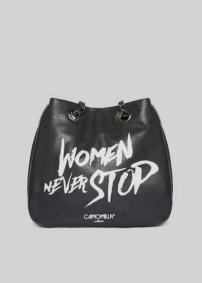 Faux leather Miniwomen shopping bag with print