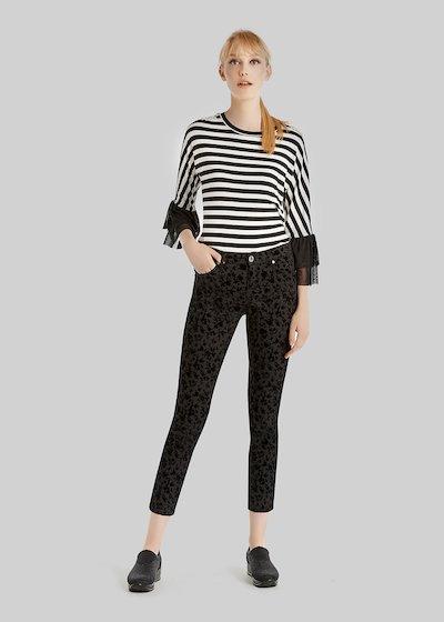 Pilar trousers 5 pockets floreal flock print