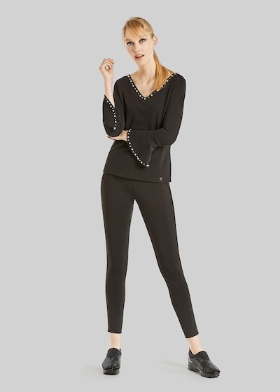 Poly trousers with lurex stripe detail
