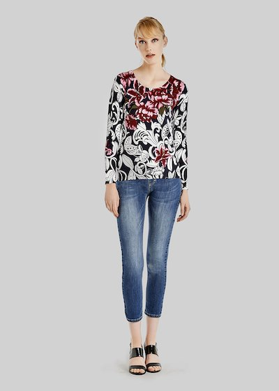 Maike sweater with floral print with ribs