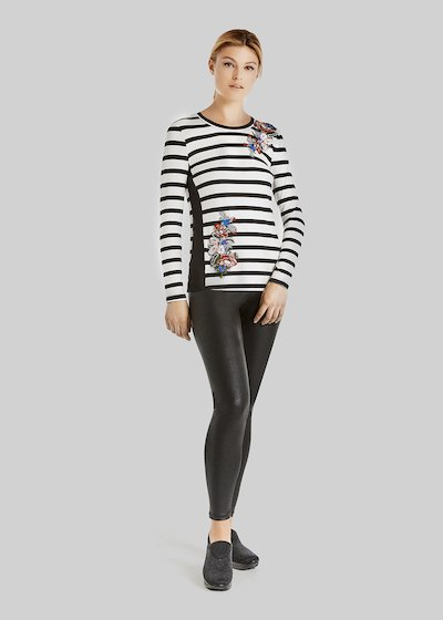 T-shirt Stefy stripes fantasy con flower patch