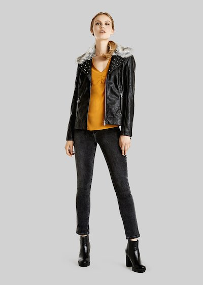 Georg short faux leather jacket with ecofur neck