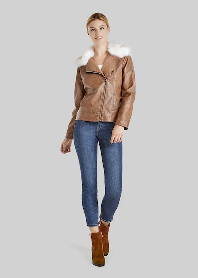 Greg short faux leather jacket, leather jacket effect with neck
