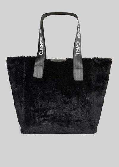Fake fur Boris shopping bag with printed logo