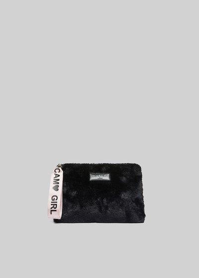 Clutch Beris in fake fur con manico in sepia color
