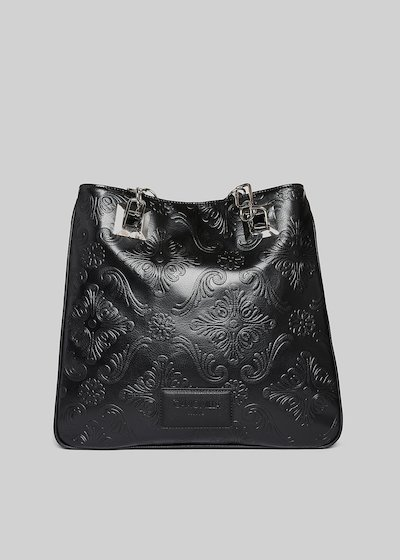 Bede faux leather shopping bag with a floral pattern