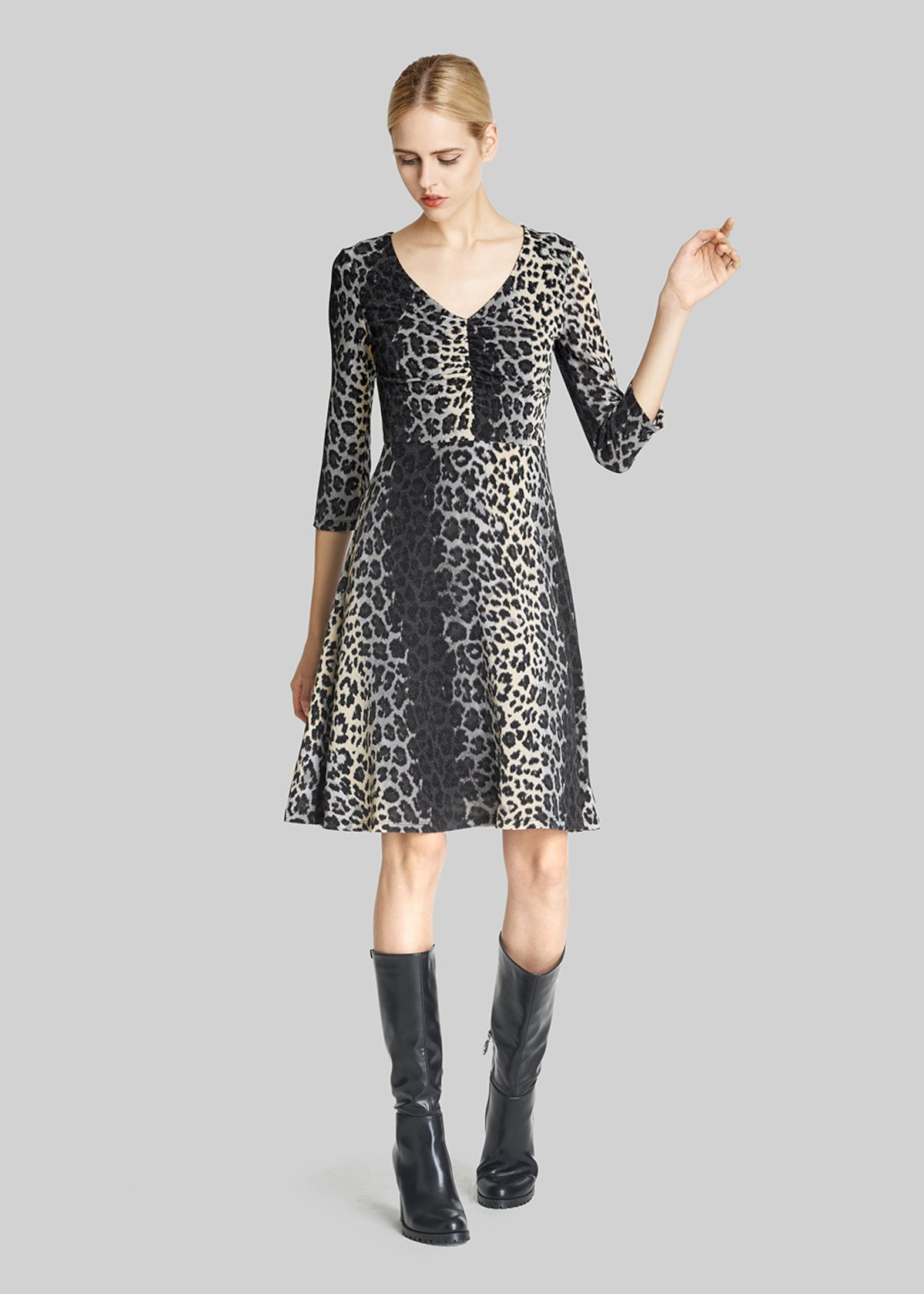 Amour Animal print jersey dress - Black / Mousse Fantasia