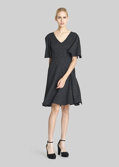 Aysha Jersey piquet dress with ruffles sleeves