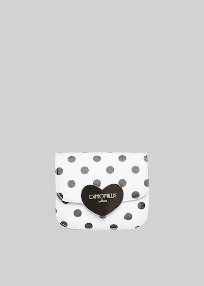 Clutch bag Bimba in ecopelle saffiano con stampa pois