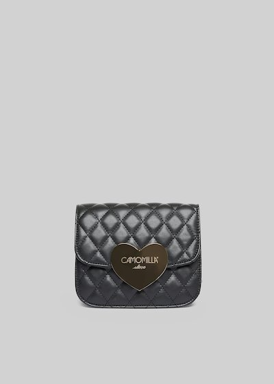 Bilta clutch bag in quilted faux leather with metal heart closing