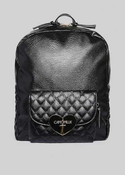 Faux leather Bithan backpack with gold heart detail