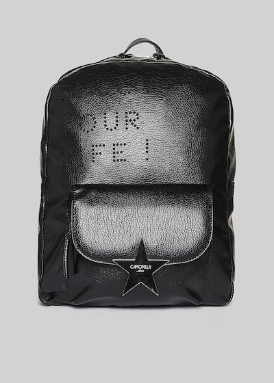 Faux leather Beret backpack with lasered print and star detail
