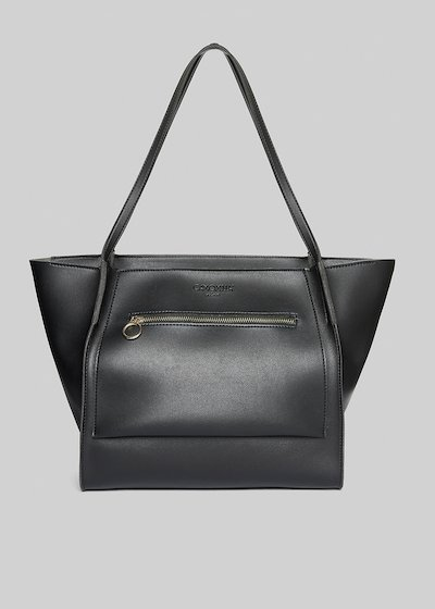 Faux leather Bisi shopping bag with zip pocket in the front