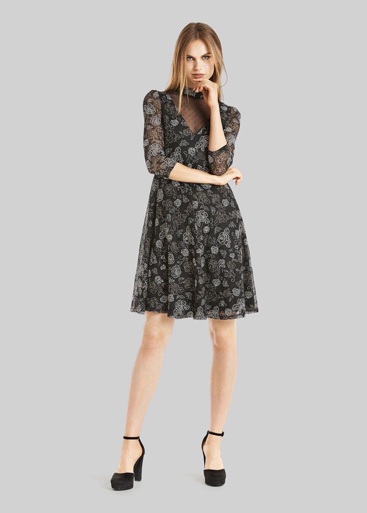Abito Alex in roses lace fabric - Black / Garlic  Fantasia - Donna