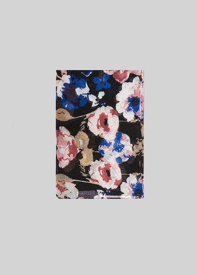 Sciarpa Sflora con sfondo nero e stampa floreale