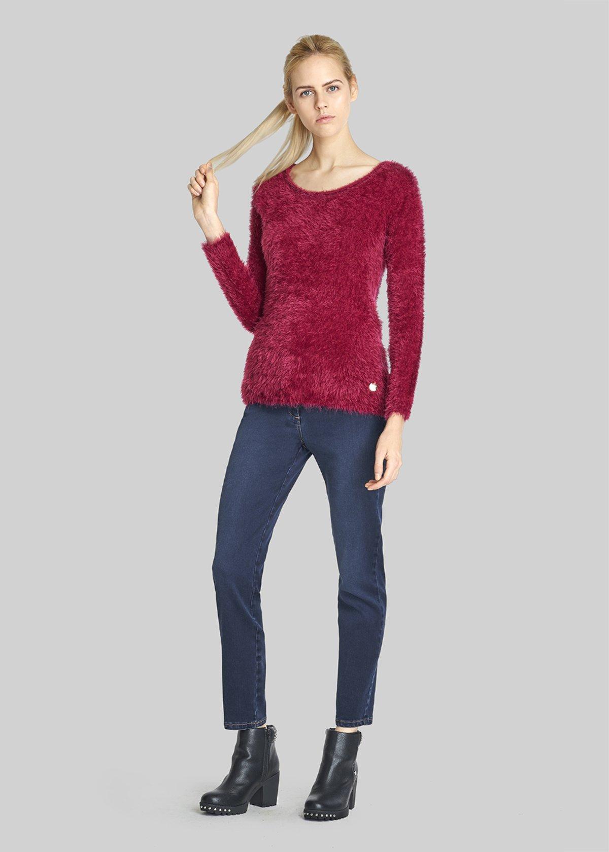 Maggie Round neck sweater fur effect - Bordeaux