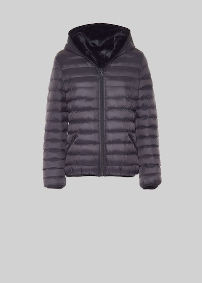 Gary reversible jacket of nylon and ecofur