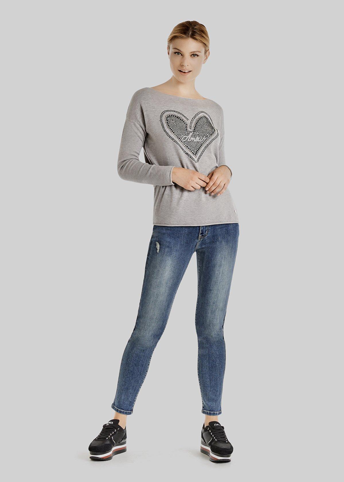Maky sweater with a heart detail of micro rhinestones - Grey Melange 6f10335cdb4