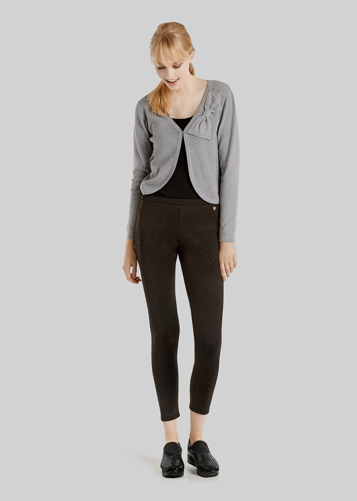 Cesar shrug with bow detail - Grey Melange