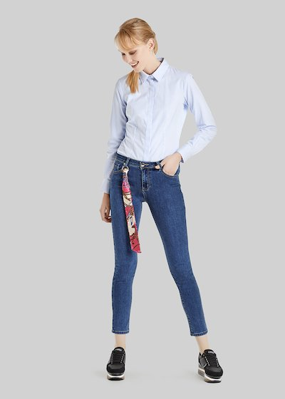 Daisy denim trousers with printed scarf