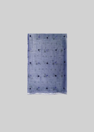 Slik silk and cotton scarf with crystal details and wool dots