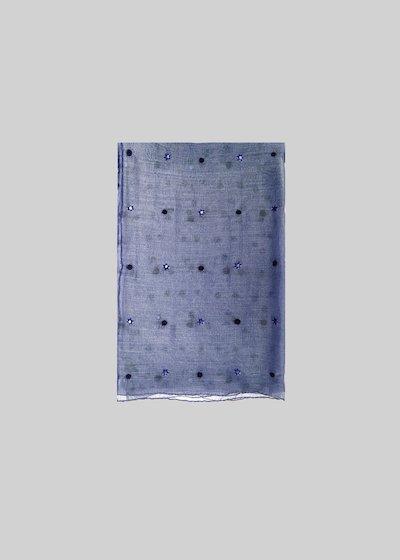 Sciarpa in seta e cotone Slik con dettagli crystal e puntini di lana