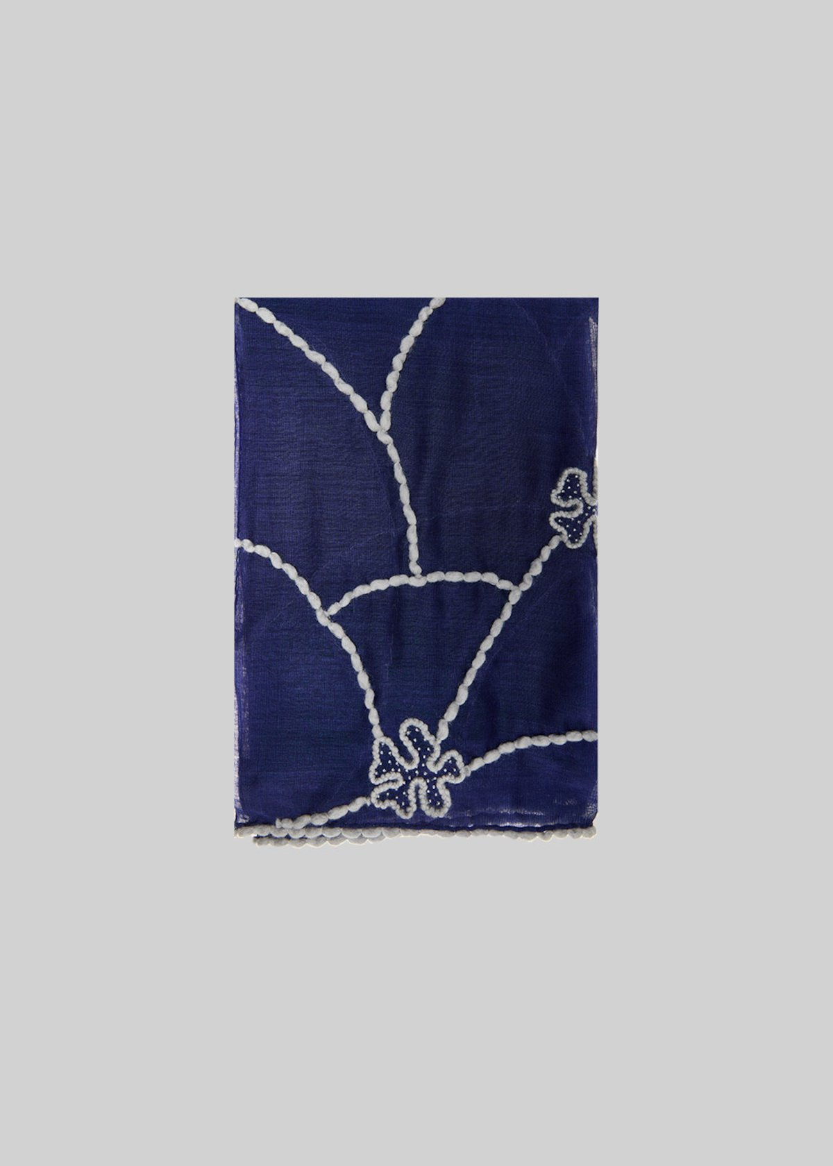 Sarsia scarf of silk and wool with flowers detail - Medium Blue /  Grey