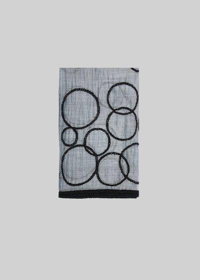 Sciarpa Stonda in seta e lana con dettaglio cerchi