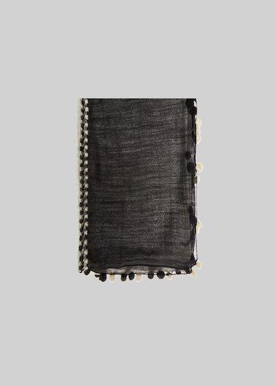Sciarpa Stef in seta e lana con pompon