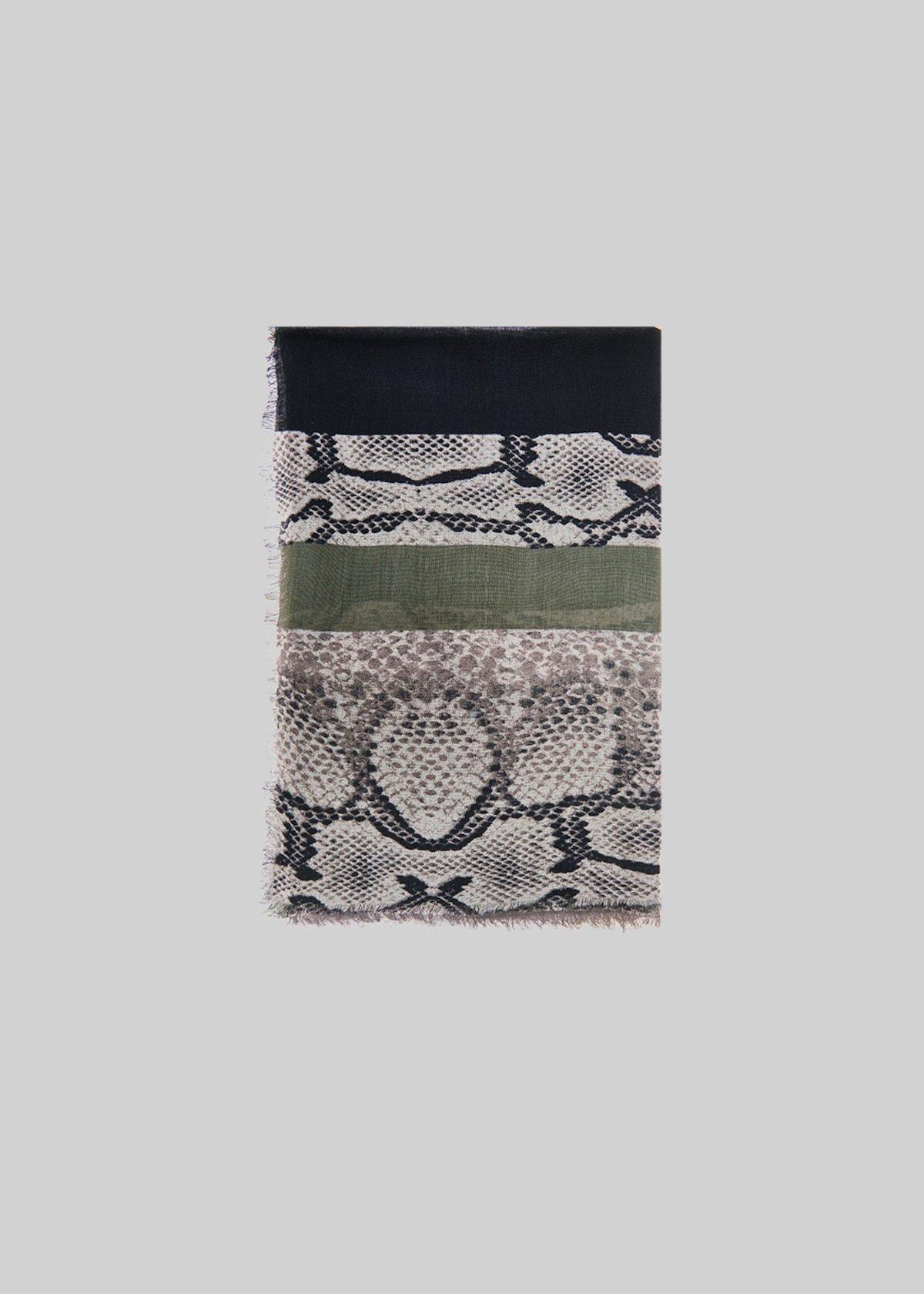 Sciarpa Seiko con stampa pitonata - Dark Grey Animalier