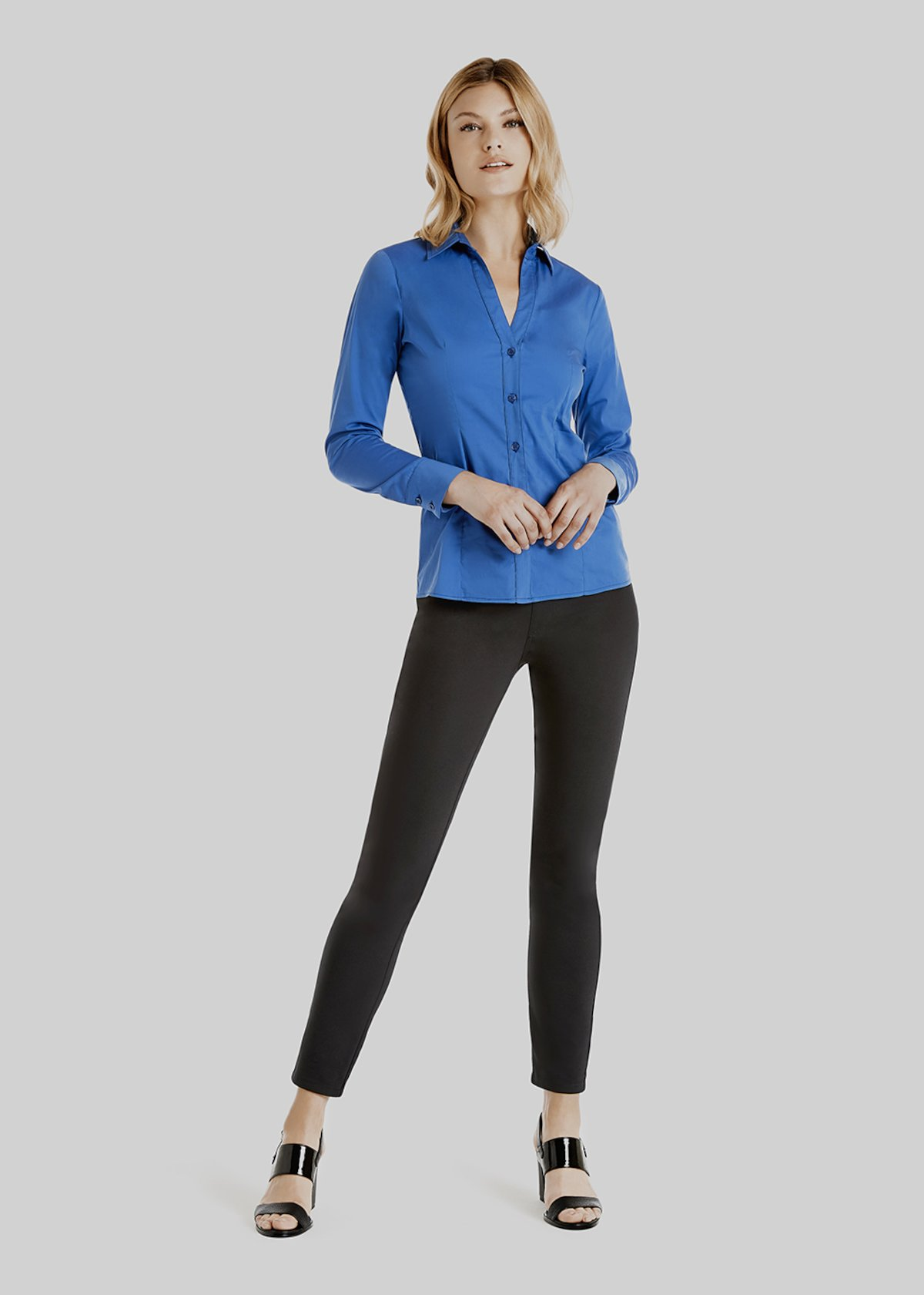 Kelly Poplin shirt with jersey sleeves and back - Lapis