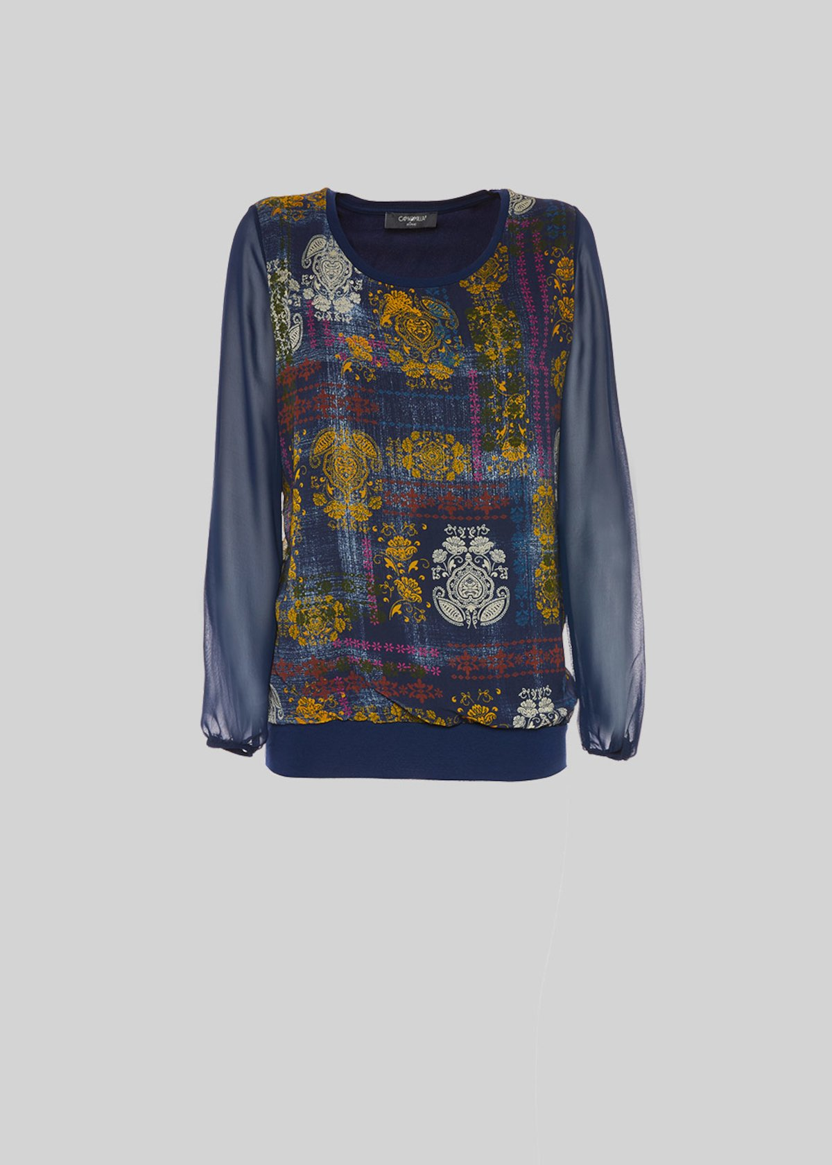 T-shirt Serenity in georgette con stampa - Medium Blue\ Senape\ Fantasia