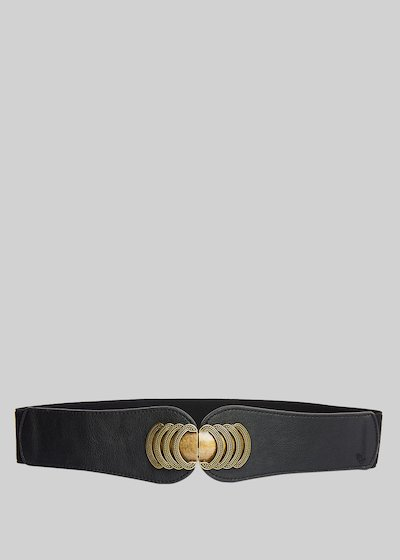 Caepy faux leather belt with antic-gold metal closure