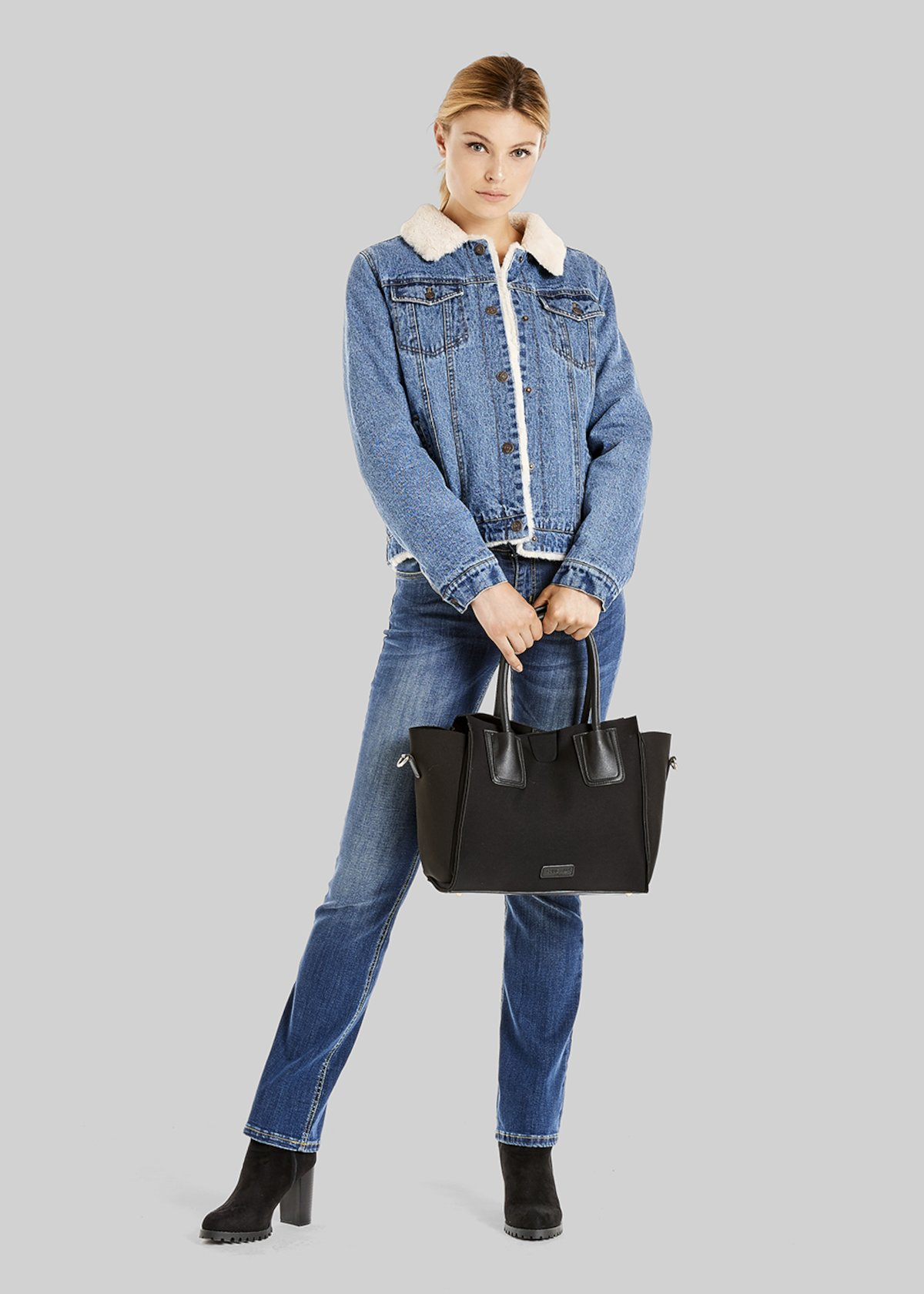 Giubbino Glady in denim con iterno in ecofur - Medium Denim
