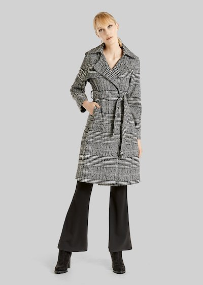 Tomas trench coat with Prince of Wales pattern and belt