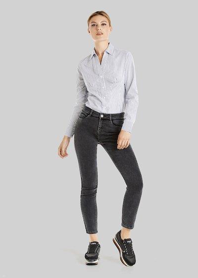 Dali denim trousers with velvet border detail