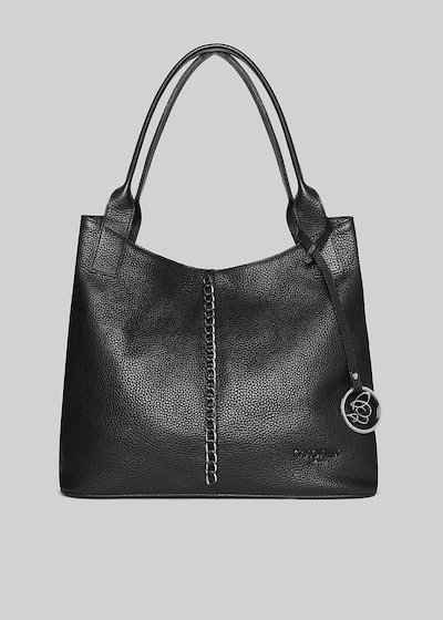 Bertilla bag made of genuine leather with leaning metal logo