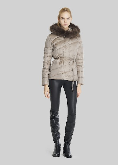 Peter short down jacket with hood and waist belt