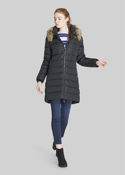 Phantom long down jacket with inner hood