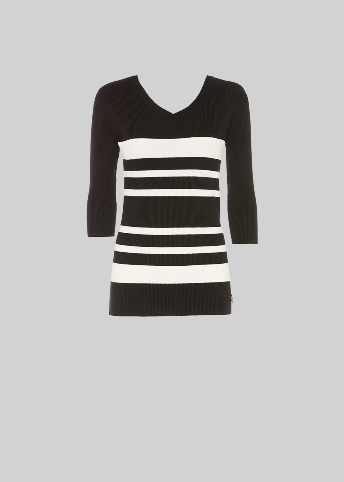 Michael stripe fantasy sweater with V-neck - Black / White Stripes - Woman - Category image
