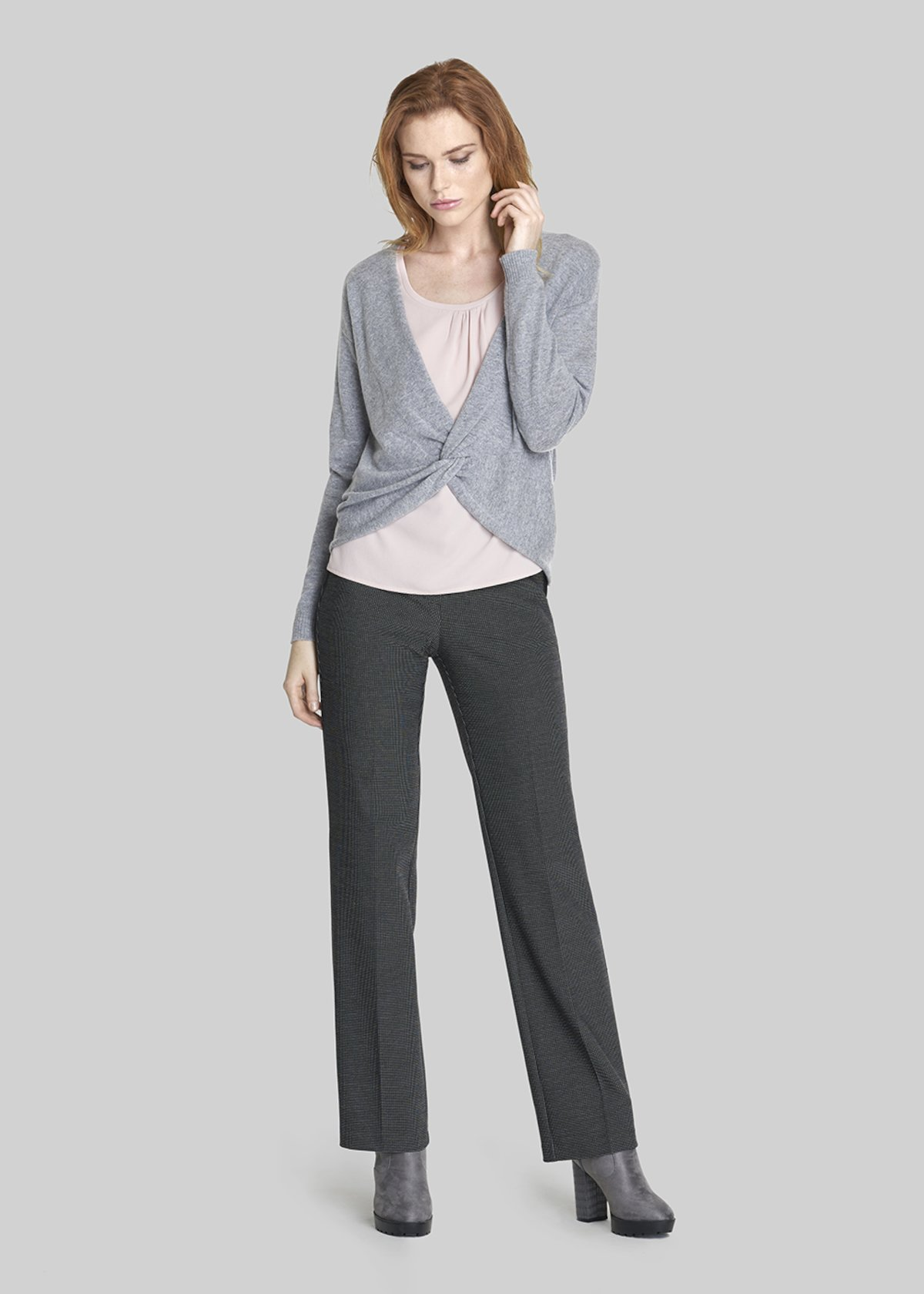 Celest knit shrug with knot detail - Medium Grey Melange