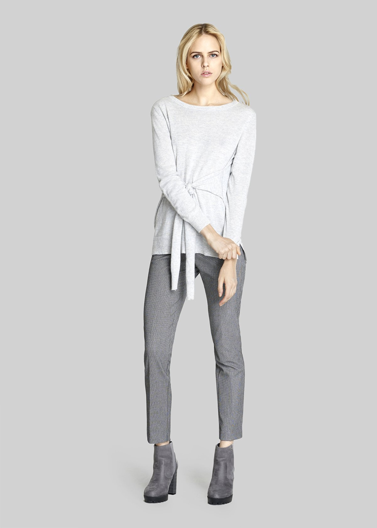 Maelle blouse with boat neck and belt - Light Grey Melange