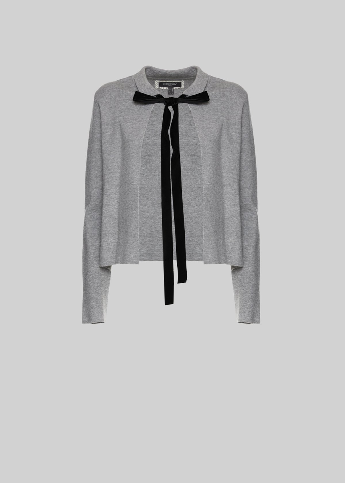 Clarence knit cardigan with gros-grain bow - Medium Grey Melange