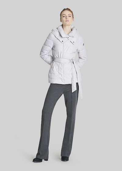 Paggy short down coat with waist belt