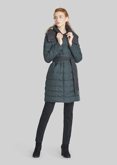 Pick long down jacket with removable hood