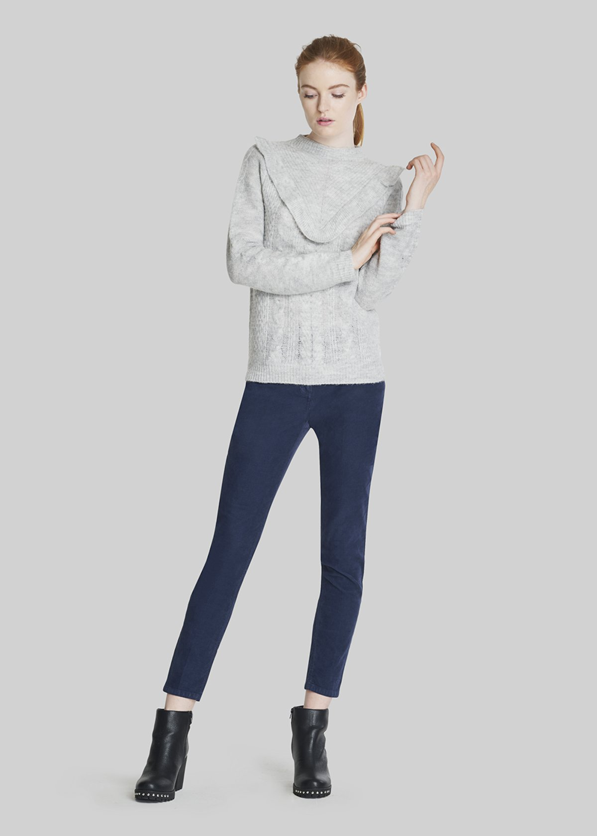 Motley sweater with high neck and ruffles - Light Grey Melange