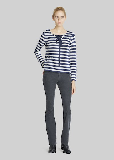 Morbid sweater with criss cross at the neck and bicolour stripes