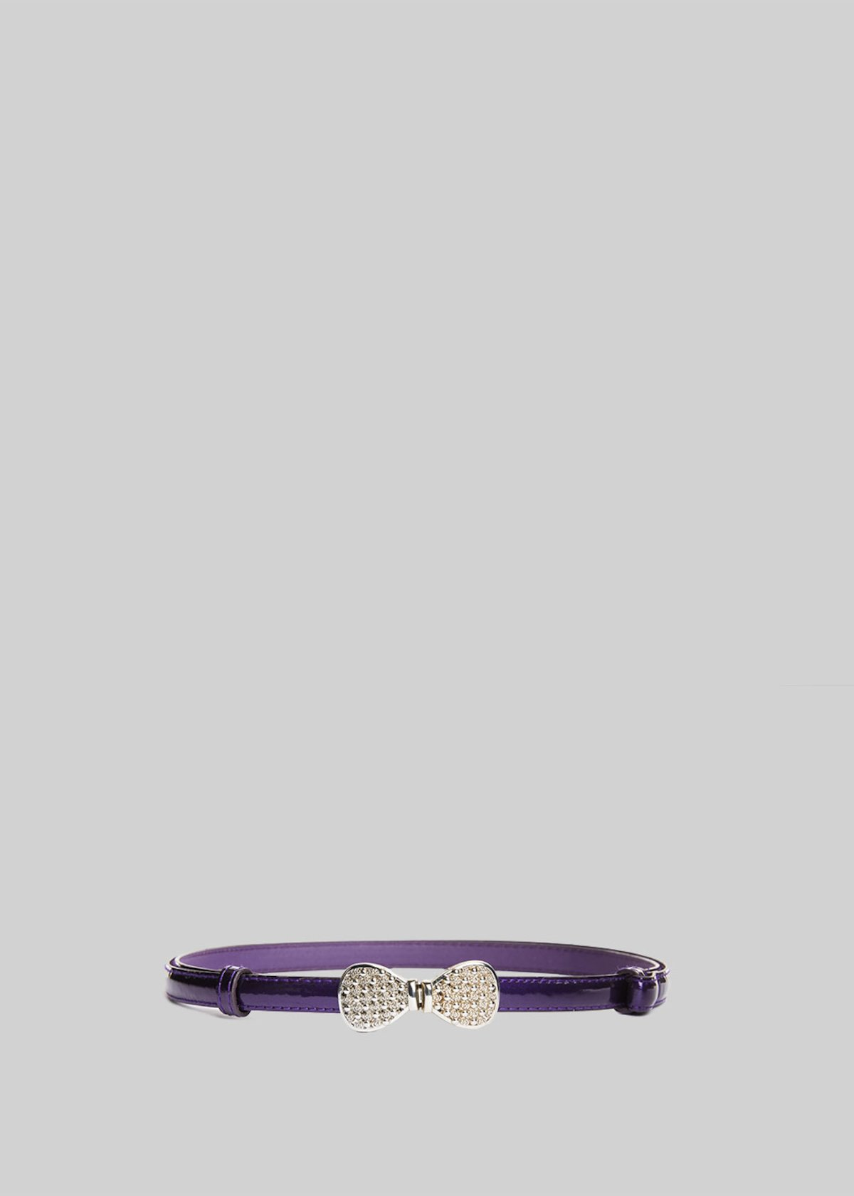 Cuala belt of painted eco-leather with silver bow - Violet