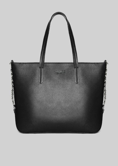 Faux-leather Blumy tote bag with chain detail