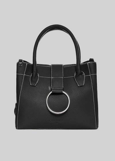 Bailey bag in faux leather with shoulder strap and metal ring closure